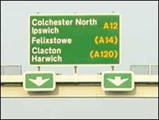 A12 road sign