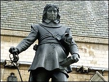 Statue of Oliver Cromwell outside the Houses of Parliament