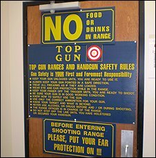 Notices at Top Gun shooting gallery