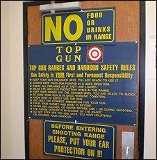 Notices at Top Gun shooting gallery