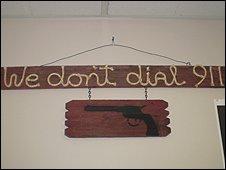 A sign in the Top Gun shooting range