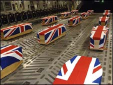 Coffins of British airmen