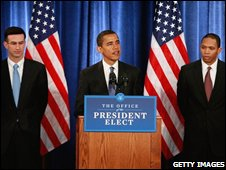 President-elect Barack Obama introduces more members of his economic team, Peter Orszag (left) and Rob Nabors (right)cu