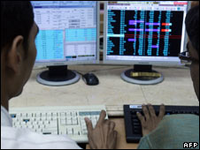 Indian stock exchange dealers. File pic