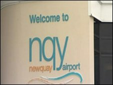 Newquay Airport sign