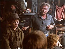 Polanski (right) on the set of Oliver Twist