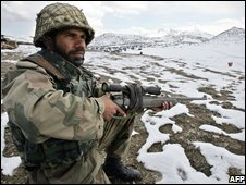 Pakistani soldier on the Afghan border