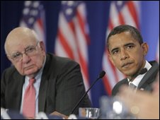 Paul Volcker with Barack Obama