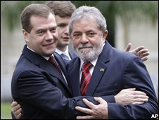 Russian President Dmitry Medvedev (left) and Brazilian President Luiz Inacio Lula da Silva on 26 November