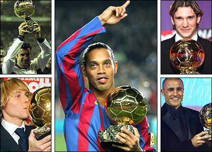 Clockwise, from top left: Luis Figo; Ronaldinho; Andriy Shevchenko; Fabio Cannavaro; Pavel Nedved