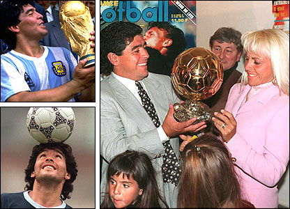 Top left: Maradona lifts the World Cup in 1986; right, he is awarded an honourary Ballon D'Or