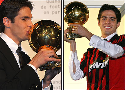 Kaka celebrates with the Ballon D'Or in 2007