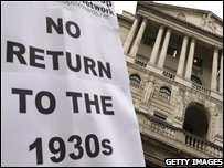 Placard outside the Bank of England