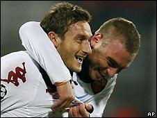 Francesco Totti (left) was on the scoresheet for Roma