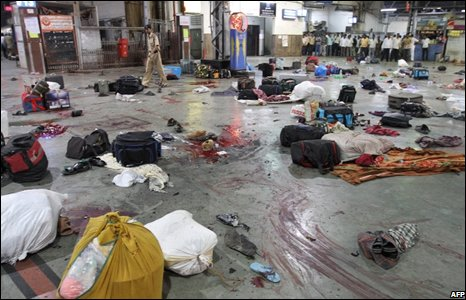 Police said at least 10 people were killed in gunfire at the Chhatrapati Shivaji railway station.
