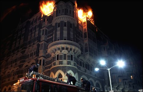 Fire on the top floor of the Taj Palace Hotel