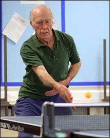 David Marshall playing table tennis (Pic: Gilbert Rimes)