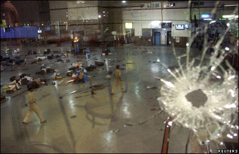 broken glass and gunman at CST Bombay attack
