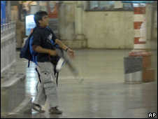 One of the gunmen at the Chatrapathi Sivaji railway station - 26/11/2008