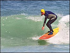Gwyn Haslock at Tolcarne Beach in 2006. pic by Geoff Tydeman