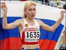 Tatyana Tomashova celebrates her 1500m gold at the 2006  Europeans