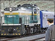 A train returns to Dora Station in Paju, South Korea after a journey to the North (28/11/08)