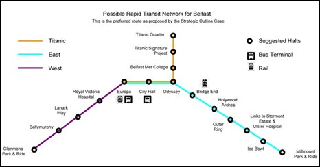 The proposed route of the rapid transit systemt for Belfast, courtesy Department for Regional Development