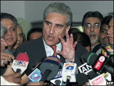 Shah Mahmoud Qureshi on a visit to India 27/11/2008
