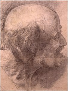 Head of St. Andrew, study for 'The Transfiguration', by  Raphael