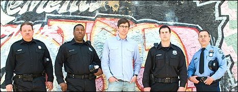 Louis Theroux with Philadelphia police officers