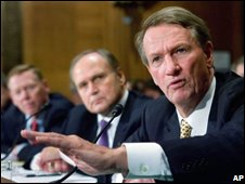 US automotive industry executives Rick Wagoner, Robert Nardelli, Alan Mulally