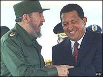 El presidente de Venezuela, Hugo Chávez, y Fidel Castro