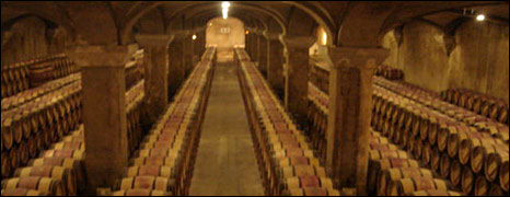 Barrel room at Chateau Margeaux