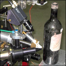 Bottle on test equipment