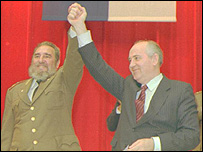 Mikhail Gorbachev y Fidel Castro