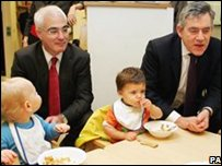 Alistair Darling and Gordon Brown visiting Westminster Children's Society in London ahead of the pre-budget report