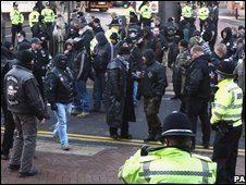 Outlaw members and police outside Birmingham Crown Court