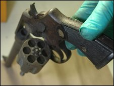The Smith and Wesson .455 revolver, allegedly used to kill schoolboy Rhys Jones