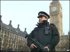 Police outside the Houses of Parliament