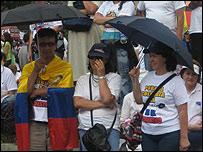 Marcha contra el secuestro en Colombia.