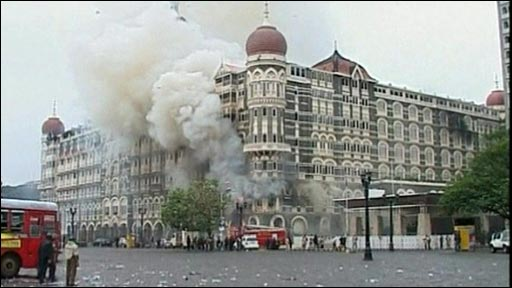 Smoke billows from Taj Mahal hotel