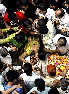 The sister Relatives at the funeral of Haresh Gohil.