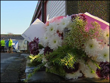 Flowers were placed at the scene after the body was discovered