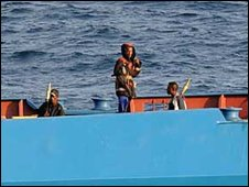 Pirates on board the Ukrainian ship MV Faina, and its cargo of tanks and military hardware, off the Somali coast.