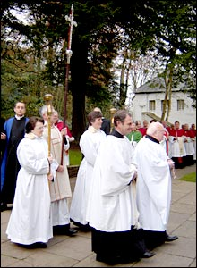 Procession of clerics and church officials