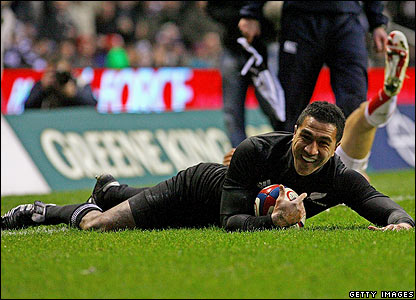 Mils Muliaina scores the first try for New Zealand