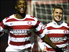 Richard Offiong was on target for Accies