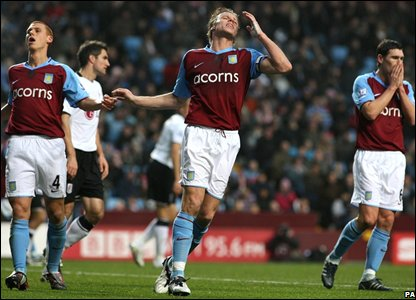 But it proves to be a frustrating day for Villa, captain Gareth Barry (left) coming closest to scoring against plucky Fulham