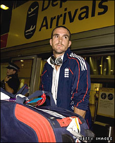England captain Kevin Pietersen arrives back at Heathrow
