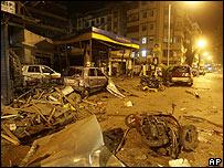 Destrozos en la ciudad de Bombay.